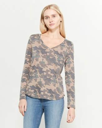 Femme By Tresics Long Sleeve V-Neck Camouflage Boyfriend Tee