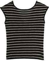 Saint Laurent Metallic Striped Wool-blend Top - Silver