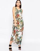 Club L Tie Waist Maxi Dress In Botanical Print