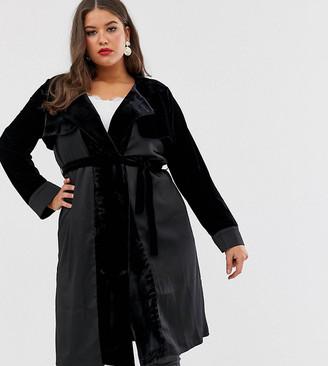 ELVI velvet trench coat