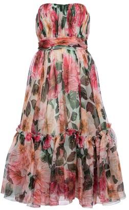 Dolce & Gabbana Strapless floral silk chiffon midi dress