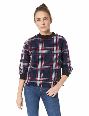 J.o.a. Women's Fringed Plaid Pullover