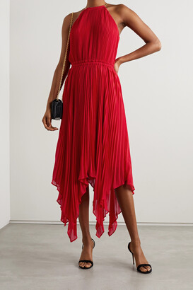 MICHAEL MICHAEL KORS - Chain-embellished Asymmetric Pleated Crepe Dress - Red