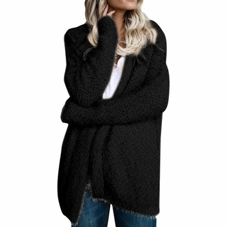 LOPILY Womens Ladies Teddy Fleece Tops Full Sleeve Fleece Jacket Blanket Hoodie Solid Color Soft Teddy Hoody Hooded Windbreaker Fluffy Outwear CoatPink14 UK/2XL CN