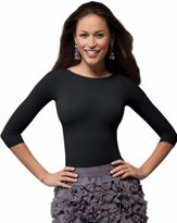 Spanx 978 On Top and In Control Three-Quarter Sleeve Boatneck Shaping Shirt Top (2X-Large, )