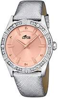 Lotus Women's Quartz Watch with Rose Gold Dial Analogue Display and Silver Leather Strap 15981/3