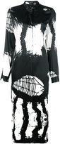 Ann Demeulemeester abstract print midi dress - women - Silk/Spandex/Elastane - 36