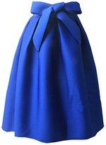 MorySong Women's Basic Pleated Bowknot Flared High Waist Midi Skater Skirt M