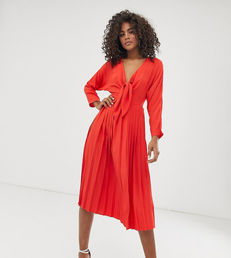 Asos Tall ASOS DESIGN Tall pleated tie front midi dress