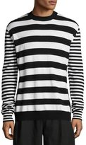 McQ Alt-Stripe Wool-Cashmere Crewneck Sweater