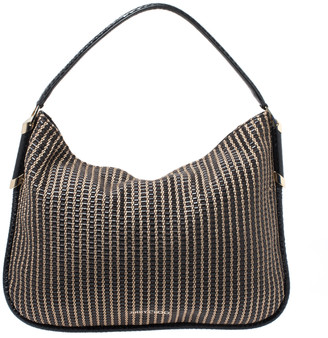Jimmy Choo Black/Brown Woven Leather and Snake Skin Trim Hobo