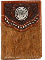 Ariat Brown Calf Hair Concho Leather Trifold Wallet