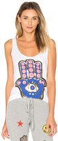 Lauren Moshi Parson Foil Hamsa Eye Tank in White. - size L (also in M,XS)