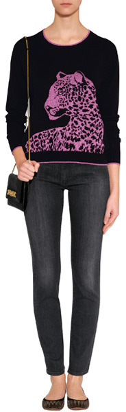 Juicy Couture Pitch Black/Frozen Berry Snow Leopard Pullover