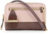 Halston Smooth Two-Tone Leather Crossbody Bag, Barrel Pink