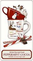 "Hot Peppermint Cocoa 100% Cotton Flour Sack Dish Tea Towel - Mary Lake Thompson 30"" x 30"""