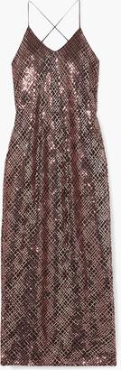 Mason by Michelle Mason Open-back Sequined Mesh Midi Dress
