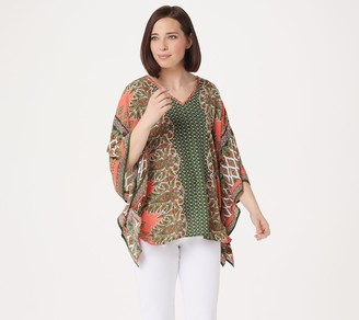 Belle By Kim Gravel Bandana Print V-Neck Poncho