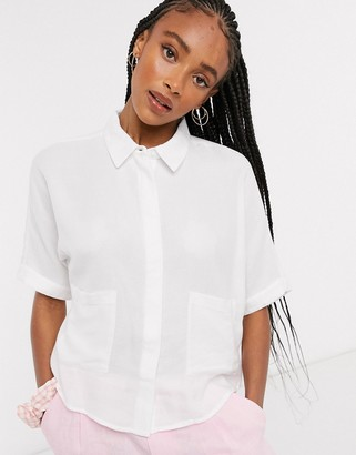 Noisy May gary pocket detail cropped blouse in white