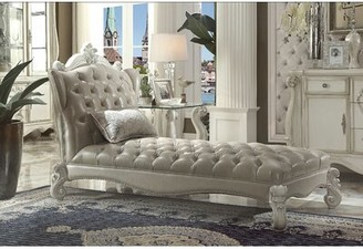 Astoria Grand Carnahan Chaise Lounge Upholstery Color: Vintage Gray, Leg Color: Bone White