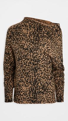 Brochu Walker Lori Printed Cashmere Off Shoulder Sweater