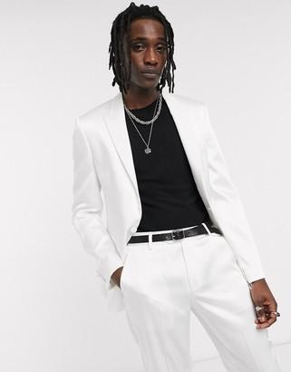 ASOS DESIGN skinny tuxedo suit jacket in white with high shine panels