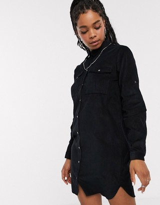 Noisy May oversized cord shirt mini dress in black