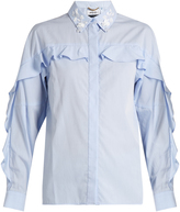 Muveil Ruffle-trimmed embellished cotton shirt