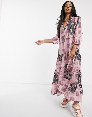 New Girl Order tie neck maxi smock dress in mix print crinkle fabric
