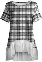 Lily Women's Tunics BLK - Black & White Plaid Tiered-Hem Hi-Low Tunic - Women & Plus
