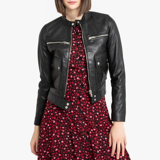 La Redoute Collections Short Leather Bomber Jacket with Pockets and Zip Fastening