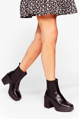 Nasty Gal Womens Platform a Line Faux Leather Chunky Boots - Black - 5
