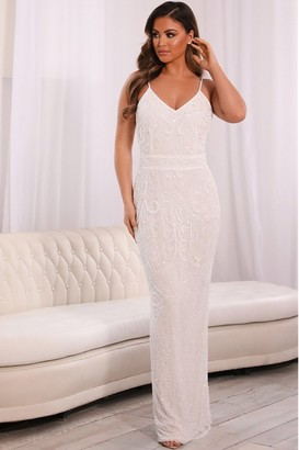 Sistaglam FLORY WHITE BEADED MAXI DRESS