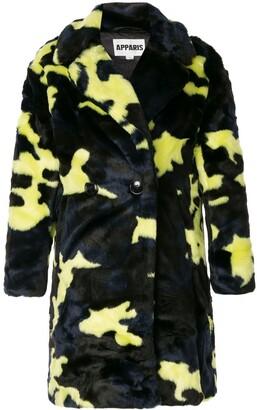Apparis Jahaira camouflage faux-fur coat