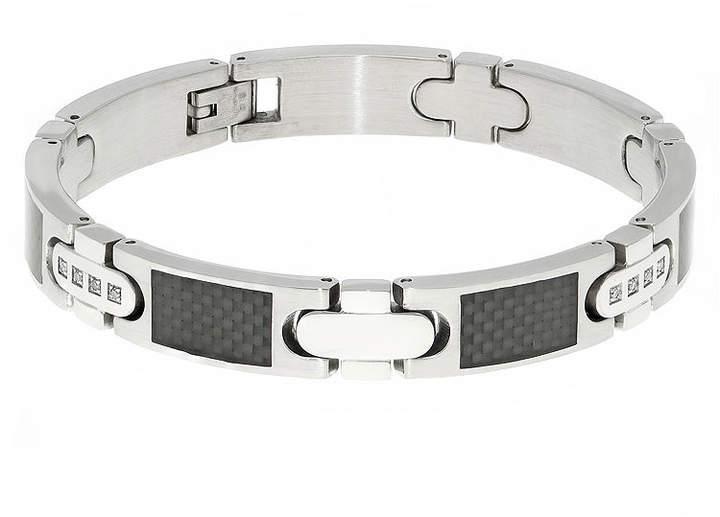 JCPenney FINE JEWELRY Mens 1/5 CT. T.W. Diamond Carbon Fiber Inlay Stainless Steel Bracelet