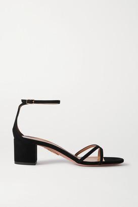 Aquazzura Purist 50 Suede Sandals - Black