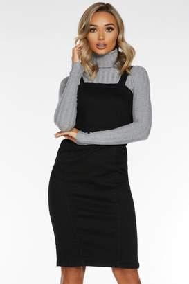Quiz Black Denim Square Neck Midi Dress