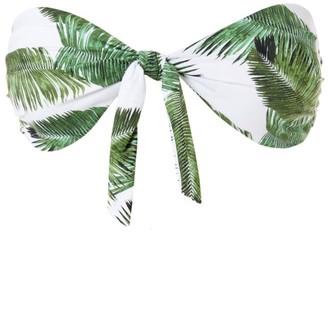 Melissa Odabash Caribe Palm-Print Bandeau Bikini Top