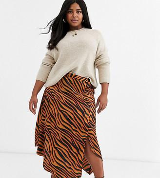 AX Paris Plus step hem midi skirt in bright zebra