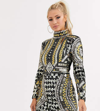 Starlet baroque all over embellished high neck bodycon dress