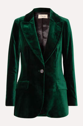 Temperley London Clove Velvet Blazer - Dark green
