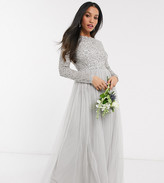 Maya Petite Bridesmaid long sleeve v back maxi tulle dress with tonal delicate sequin in silver