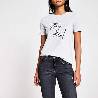 River Island Grey 'Stay real' diamante T-shirt