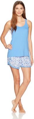 Mae Amazon Brand Women's Sleepwear Racerback with Crochet Insert Tank Pajama Set