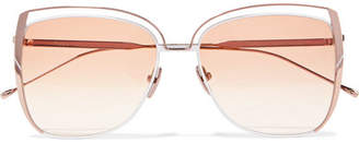 Sunday Somewhere - Poppy D-frame Rose Gold-tone Sunglasses - Peach