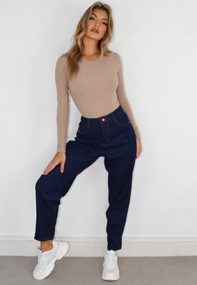 Missguided Deep Blue Indigo Mom Jeans