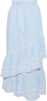 Jonathan Simkhai Lace-trimmed Striped Seersucker Maxi Skirt