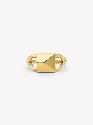 Michael Kors 14K Gold-Plated Sterling Silver Oversized Mercer Lock Cocktail Ring