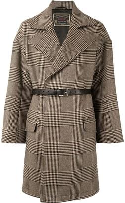 Dondup Check Print Belted Coat