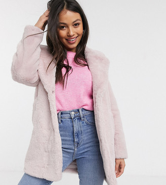 New Look Petite faux fur coat in pale pink